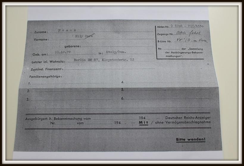 Karteikarte Elly Frank, 25.11.1941