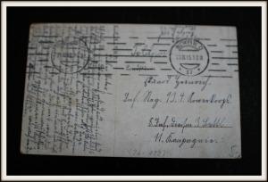Postkarte Elly Frank 1915, Hinteransicht