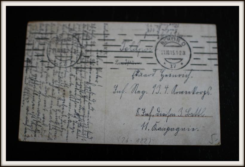 Postkarte Elly Frank 1921, Hinteransicht